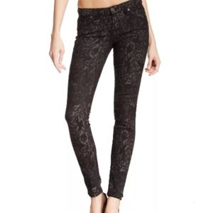 7 For All Mankind Gwenevere Floral Jeans, Sz 26